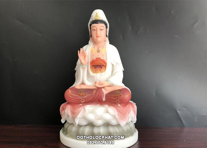 tượng quan thế âm bồ tát bằng bột đá áo gấm đỏ cao 50cm giá rẻ