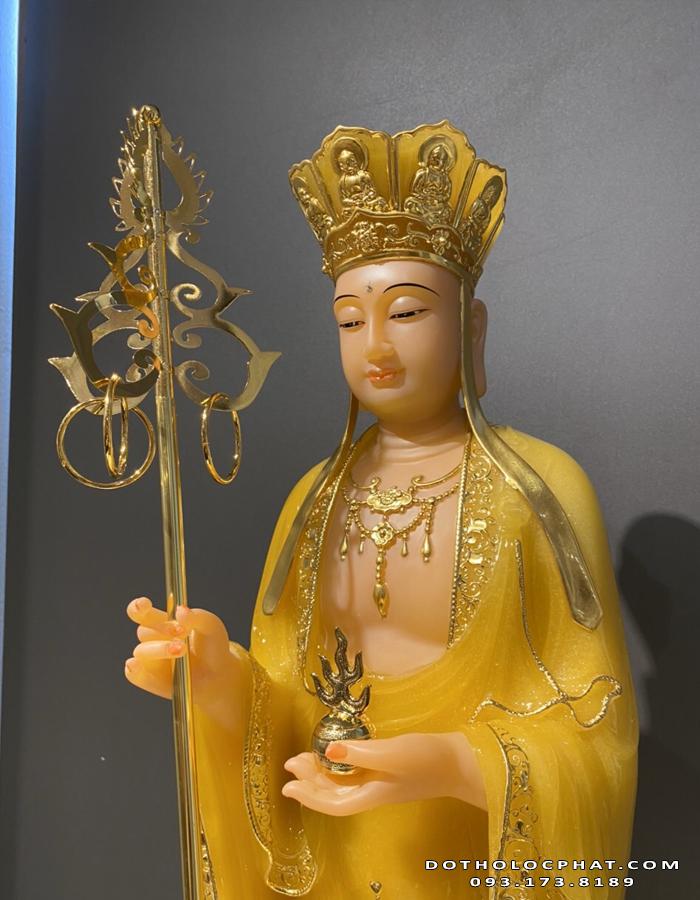 tượng địa tạng vương bồ tát bằng đá màu vàng ngọc đẹp