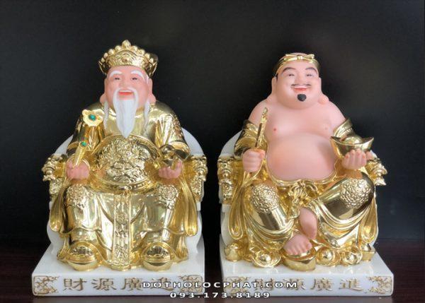 tượng ông địa thần tài bằng đá dát vàng đẹp