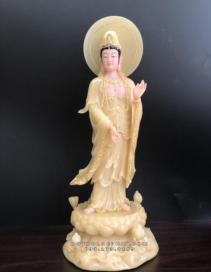 tượng phật quan âm đứng có hào quang bằng bột đá thạch anh vàng ngọc đẹp giá rẻ
