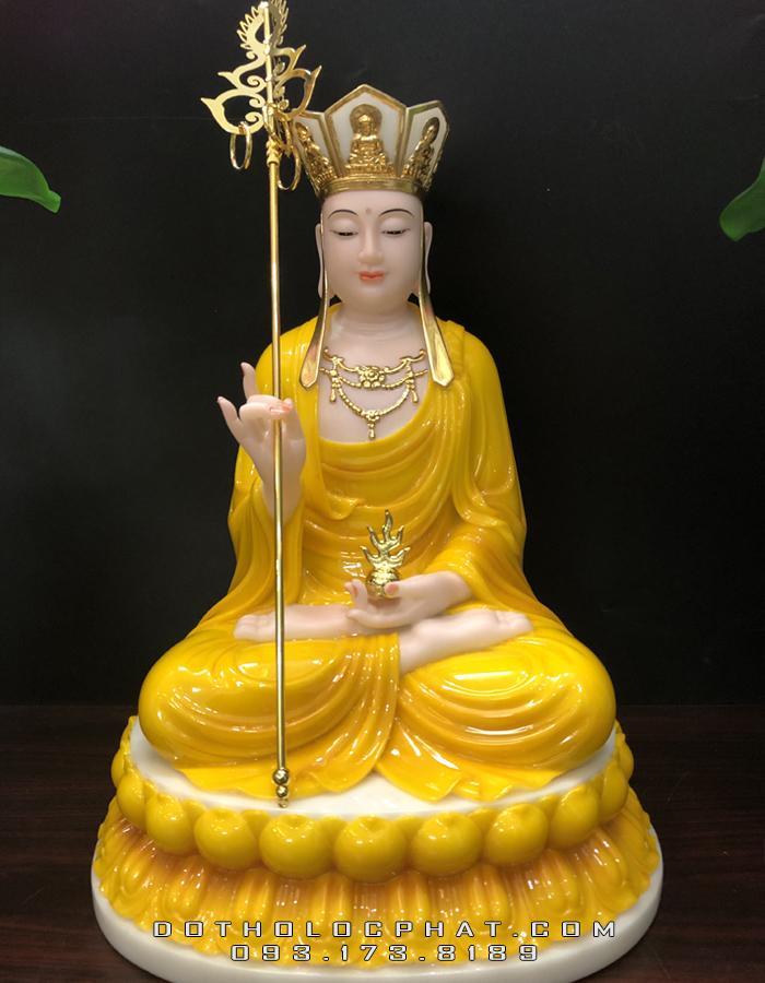 mẫu tượng địa tạng vương bồ tát bằng đá màu vàng hổ phách đế to đẹp