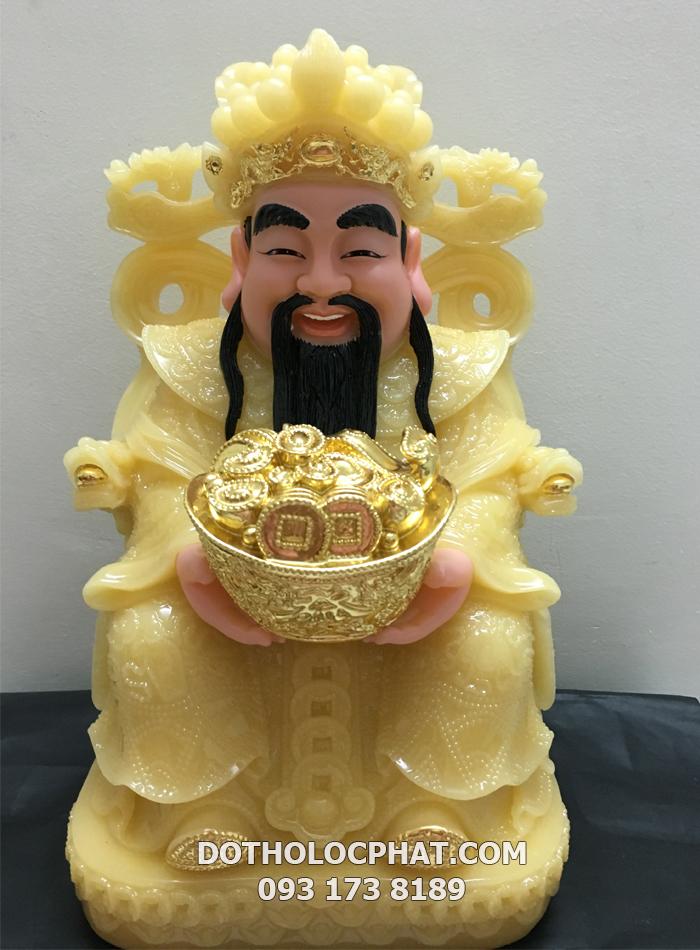 Tượng ông Thần Tiền - Kim Tiền bằng đá thạch anh dát vàng đẹp