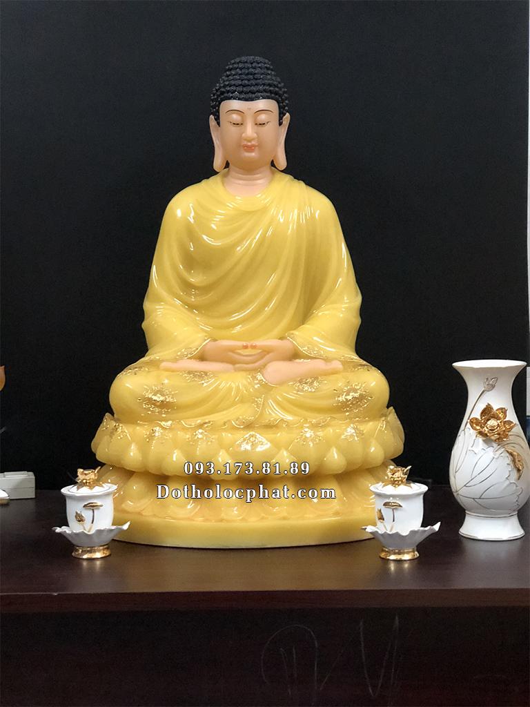 Tượng Phật Thích Ca Mâu Ni bằng bột đá thạch anh cao 68cm