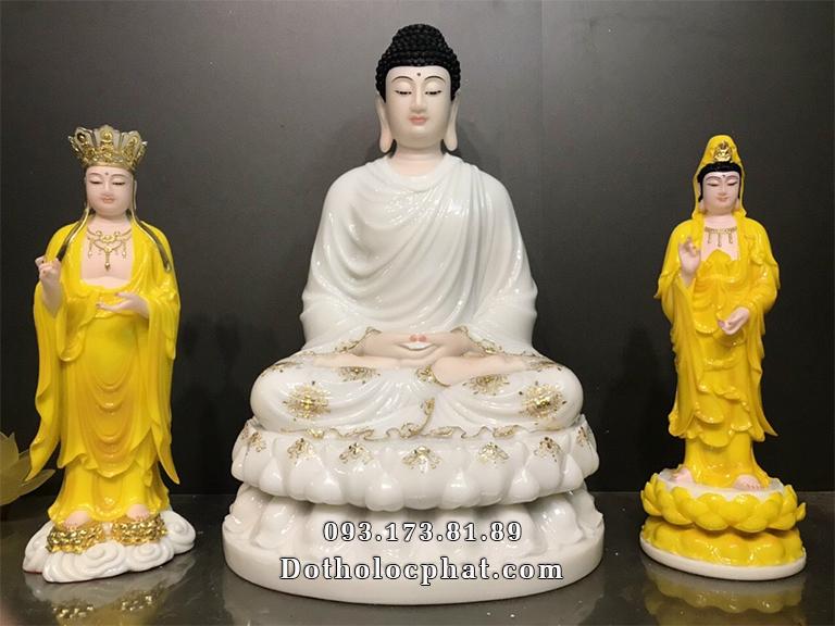 Tượng Phật Thích Ca Mâu Ni trắng viền vàng cao 68cm