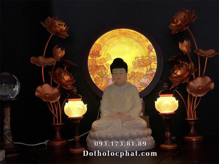 Trọn bộ tượng Phật Thích Ca Mâu trắng cao 40cm
