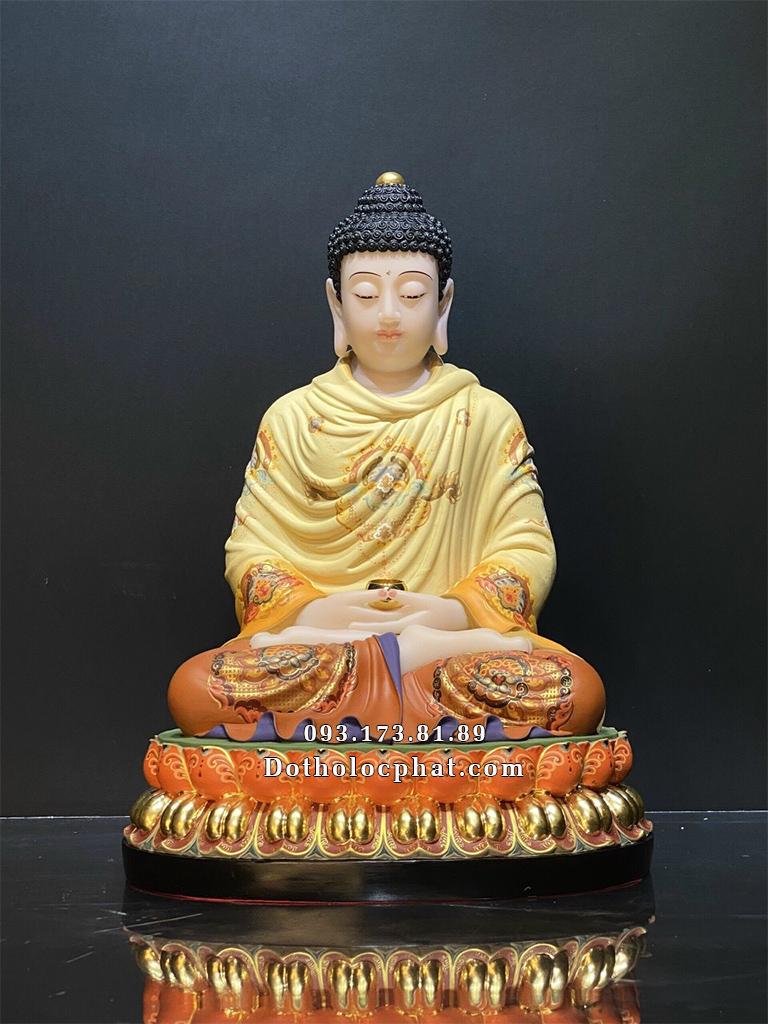 Tượng Phật Bổn Sư Thích Ca Mâu Ni vẽ gấm vàng 50vm